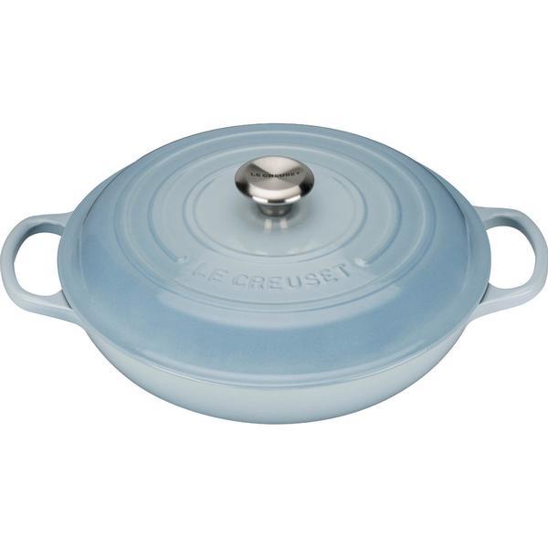 Le Creuset Coastal Blue Signature Cast Iron Shallow Casserole with lid 26cm