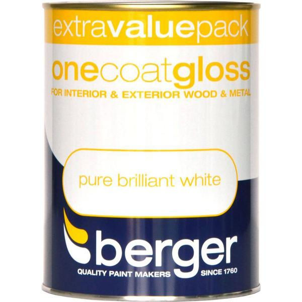 Berger One Coat Gloss Wood Paint, Metal Paint White 1.25L