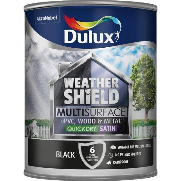 Dulux Weathershield Multisurface Wood Paint, Metal Paint Black 0.75L