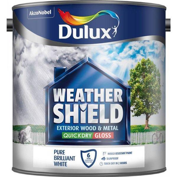Dulux Weathershield Quick Dry Exterior Wood Paint, Metal Paint White 2.5L