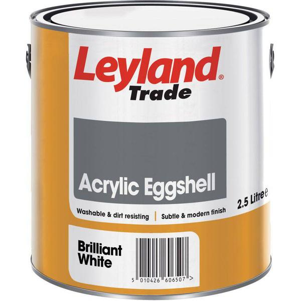 Leyland Trade Acrylic Eggshell Wall Paint, Ceiling Paint White 2.5L