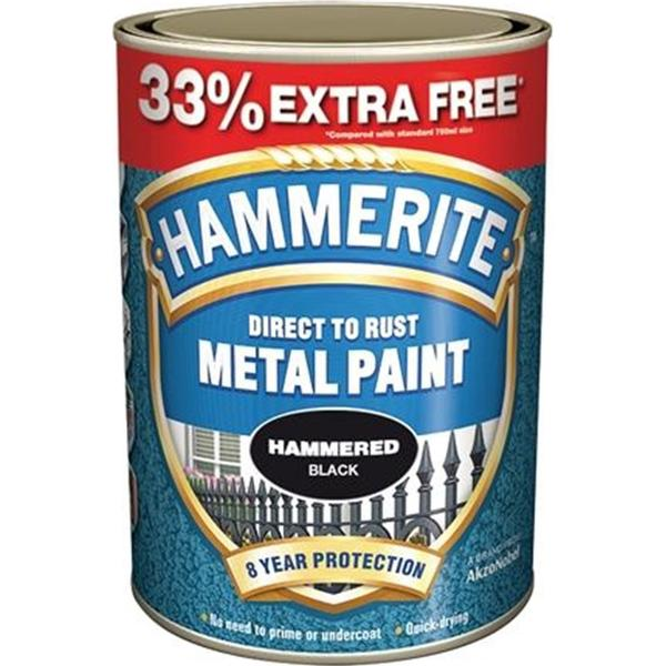 Hammerite Direct To Rust Hammer Metal Paint Black 0.75L