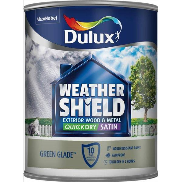 Dulux Weathershield Quick Dry Exterior Wood Paint, Metal Paint Green 0.75L