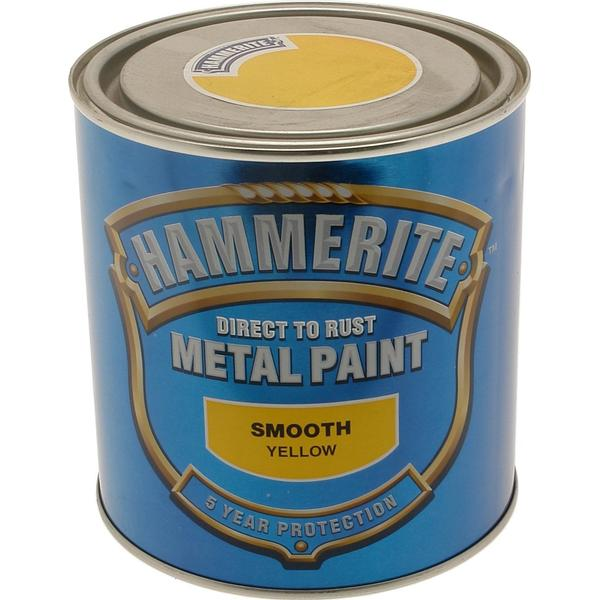 Hammerite Direct to Rust Smooth Effect Metal Paint Yellow 5L