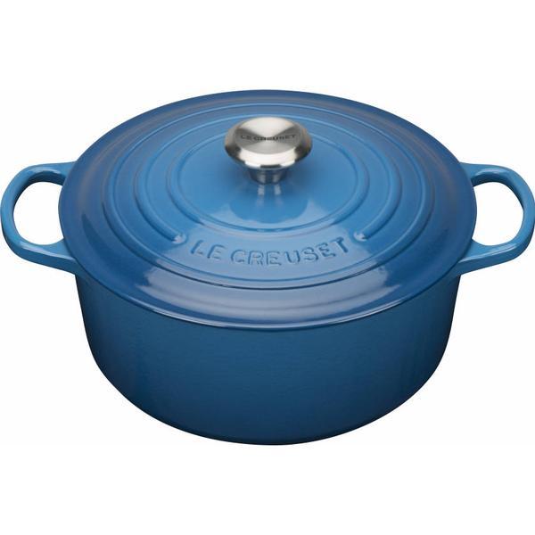 Le Creuset Marseille Blue Signature Cast Iron Round Other Pots with lid 22cm