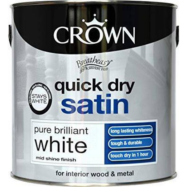 Crown Quick Dry Satin Wood Paint, Metal Paint White 0.75L