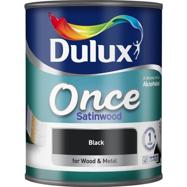 Dulux Once Satinwood Wood Paint, Metal Paint Black 0.75L