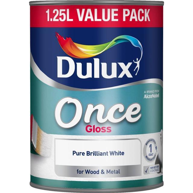 Dulux Once Gloss Wood Paint, Metal Paint White 1.25L