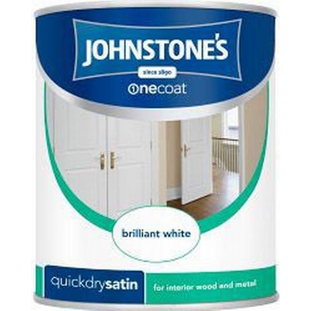 Johnstones One Coat Quick Dry Satin Wood Paint, Metal Paint White 0.75L