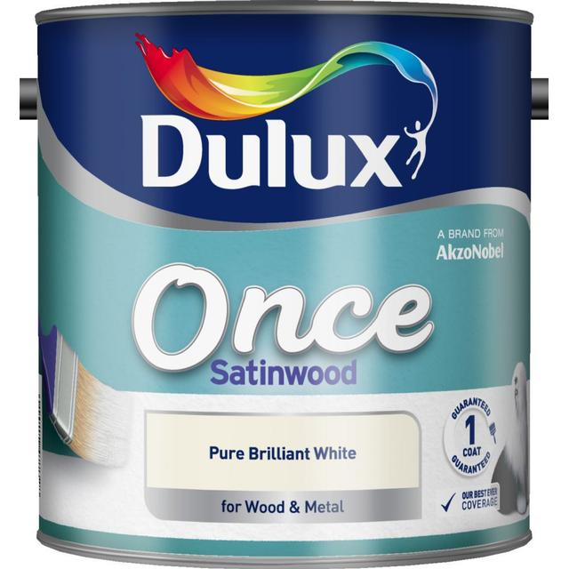 Dulux Once Satinwood Wood Paint, Metal Paint White 2.5L