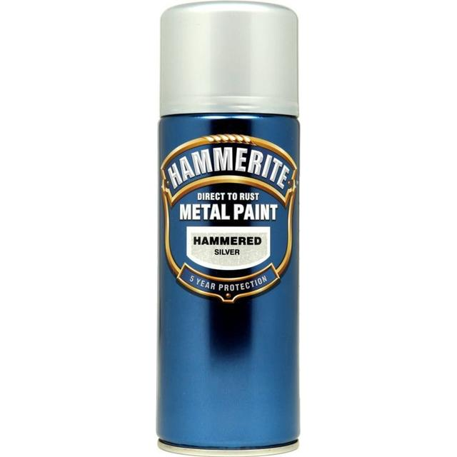 Hammerite Direct to Rust Hammered Effect Metal Paint Silver 0.4L