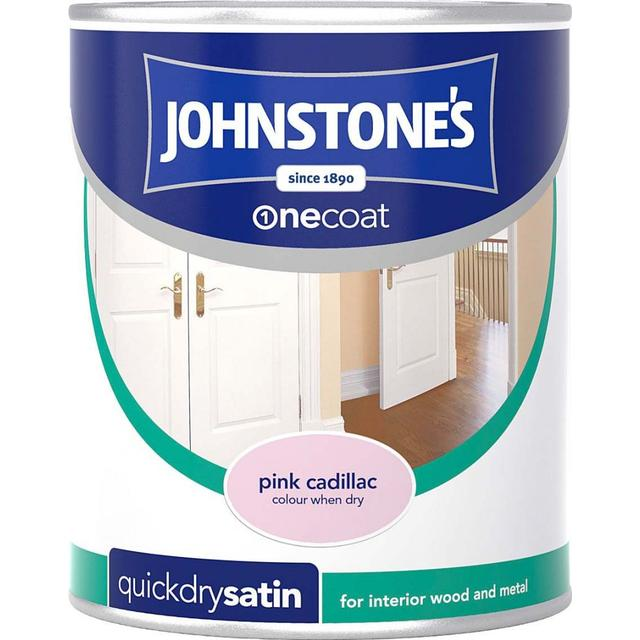 Johnstones One Coat Quick Dry Satin Wood Paint, Metal Paint Pink 0.75L