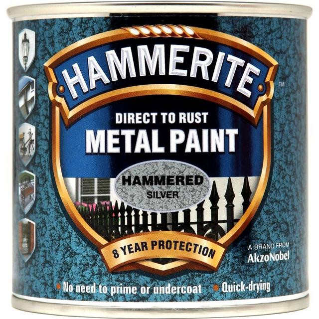 Hammerite Direct to Rust Hammered Effect Metal Paint Silver 0.25L