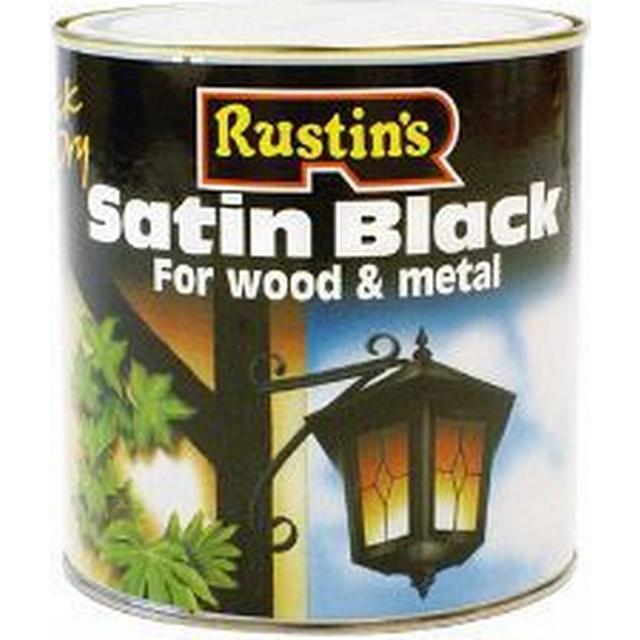 Rustins Quick Dry Satin Black Wood Paint, Metal Paint Black 1L