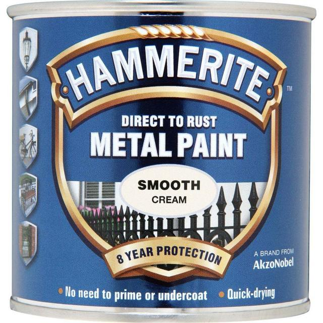 Hammerite Direct to Rust Smooth Effect Metal Paint Off-white 0.25L