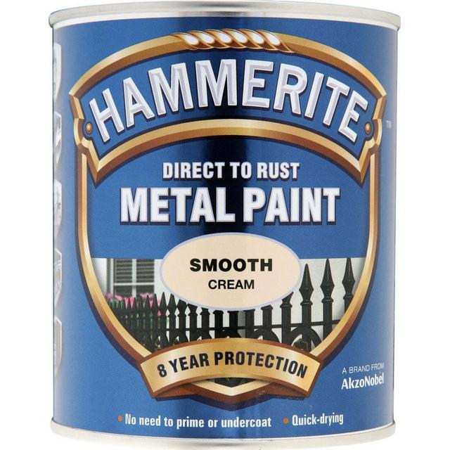 Hammerite Direct to Rust Smooth Effect Metal Paint Off-white 0.75L