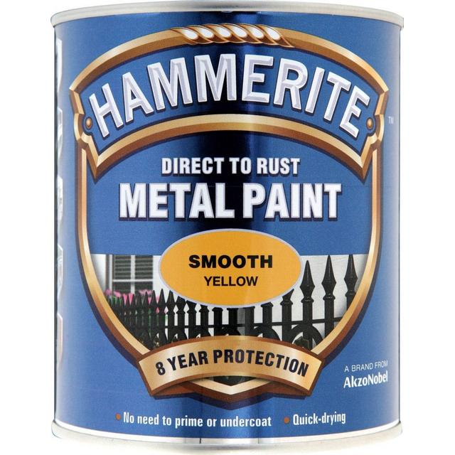 Hammerite Direct to Rust Smooth Effect Metal Paint Yellow 0.75L