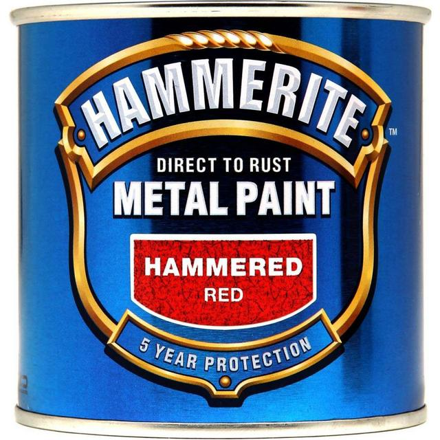 Hammerite Direct to Rust Hammered Effect Metal Paint Red 0.25L