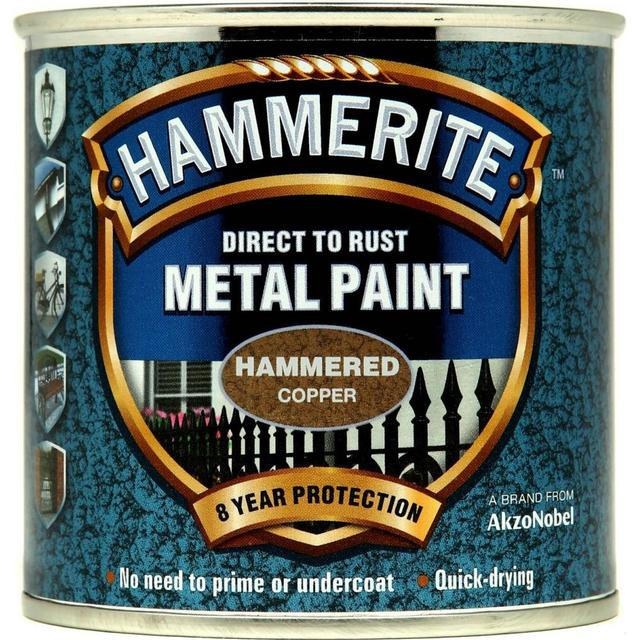 Hammerite Direct to Rust Hammered Effect Metal Paint Gold 0.25L