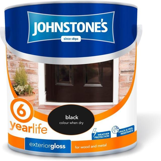 Johnstones Weatherguard 6 Year Exterior Gloss Wood Paint, Metal Paint Black 2.5L