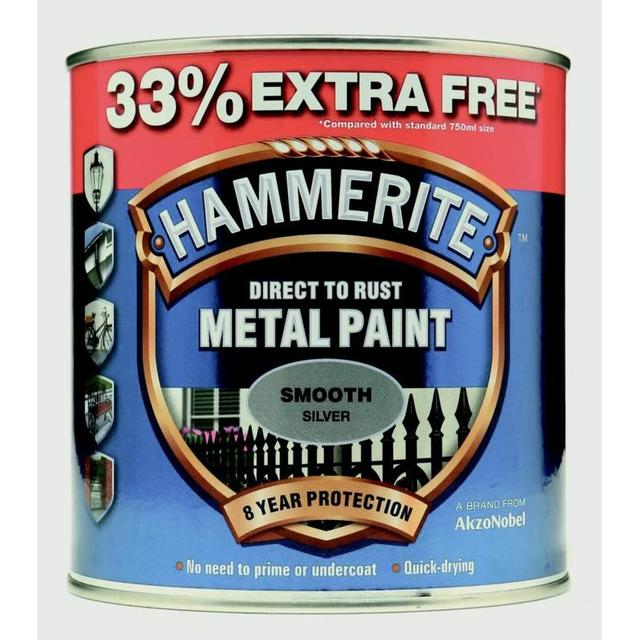 Hammerite Direct to Rust Smooth Effect Metal Paint Silver 0.75L