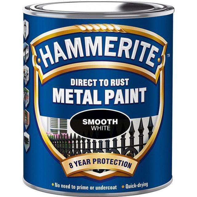Hammerite Direct to Rust Smooth Effect Metal Paint White 0.75L