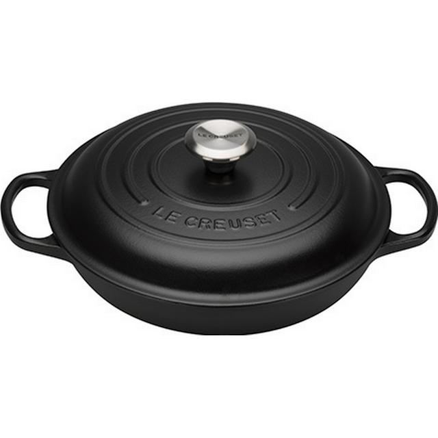 Le Creuset Satin Black Signature Shallow Casserole with lid 26cm