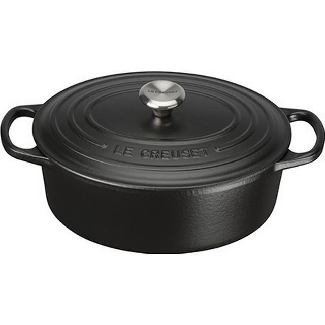 Le Creuset Satin Black Signature Cast Iron Oval Other Pots with lid 25cm
