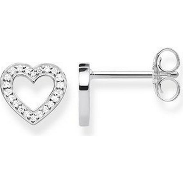 Thomas Sabo Heart Large Silver Earrings w. White Zirconia (H1945-051-14)
