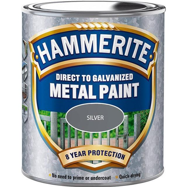 Hammerite Direct to Galvanised Metal Paint Silver 0.75L