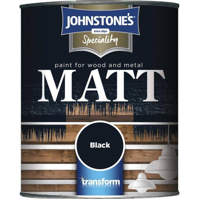 Johnstones Speciality Matt Wood Paint, Metal Paint Black 0.75L