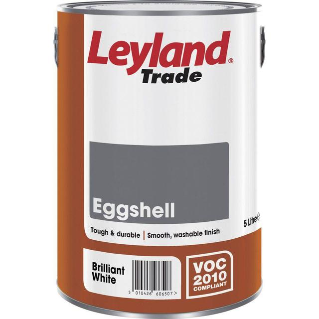 Leyland Trade Eggshell Wood Paint, Metal Paint White 5L