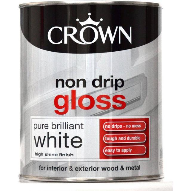 Crown Non Drip Gloss Wood Paint, Metal Paint White 0.75L