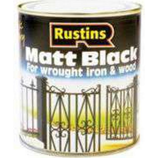 Rustins Quick Dry Black Matt Wood Paint, Metal Paint Black 0.5L