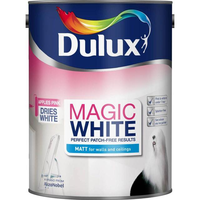 Dulux Magic White Matt Wall Paint, Ceiling Paint White 5L
