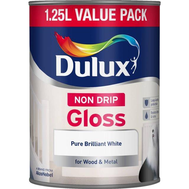 Dulux Non Drip Gloss Wood Paint, Metal Paint White 1.25L