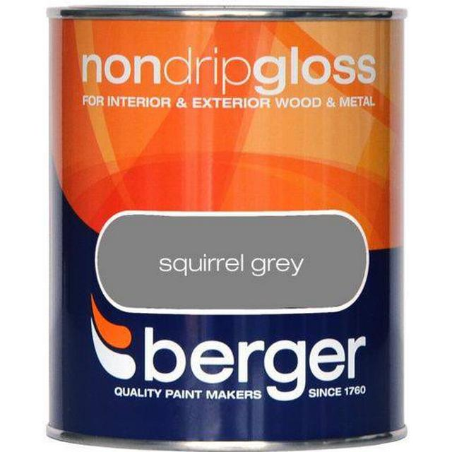 Berger Non Drip Gloss Wood Paint, Metal Paint Grey 0.75L