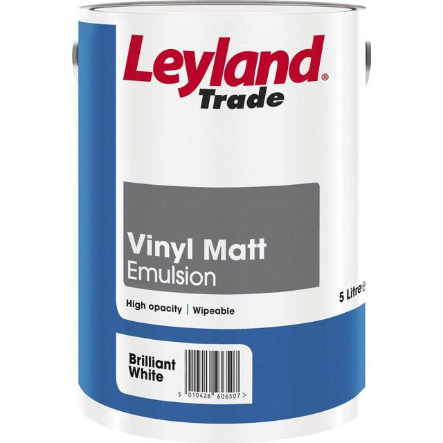 Leyland Trade Vinyl Matt Wall Paint, Ceiling Paint White 5L