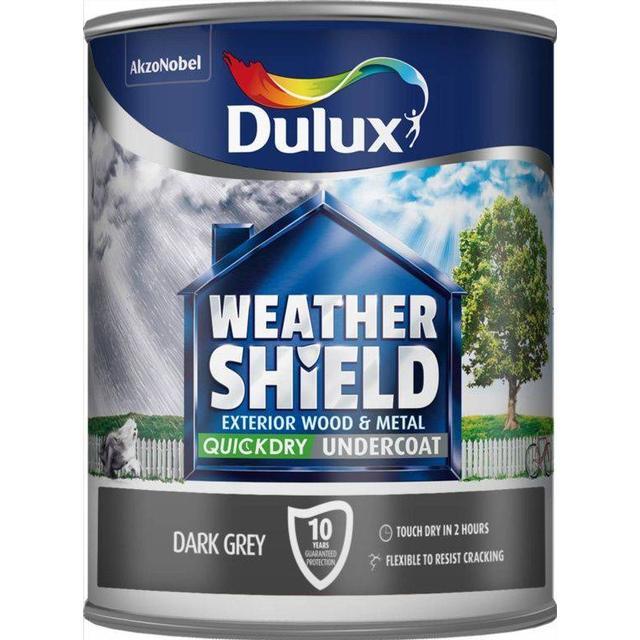 Dulux Weathershield Quick Dry Undercoat Exterior Wood Paint, Metal Paint Grey 0.75L