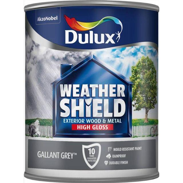 Dulux Weathershield Exterior Wood Paint, Metal Paint Grey 0.75L