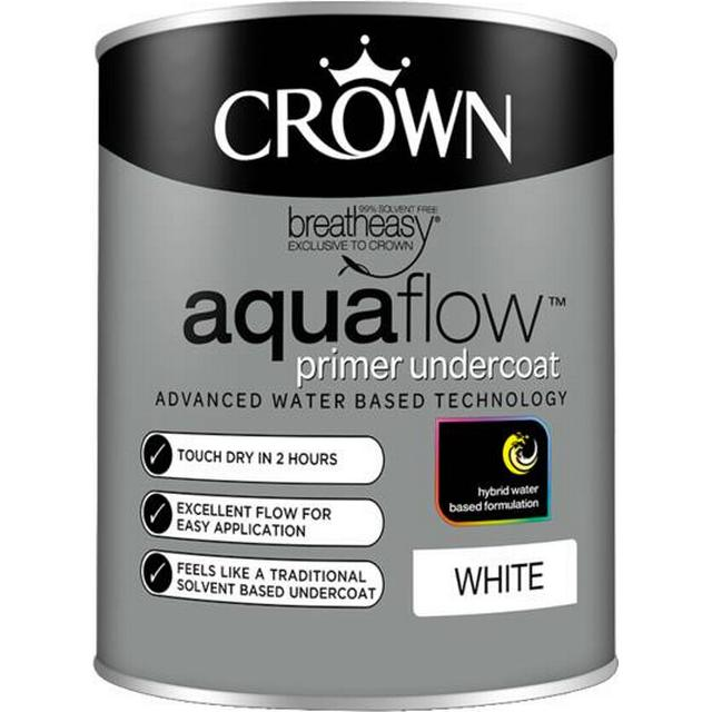 Crown Aquaflow Undercoat Wood Paint, Metal Paint White 0.75L