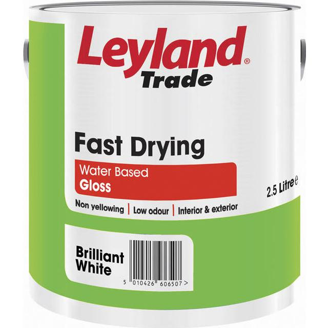 Leyland Trade Fast Drying Gloss Wood Paint, Metal Paint White 2.5L