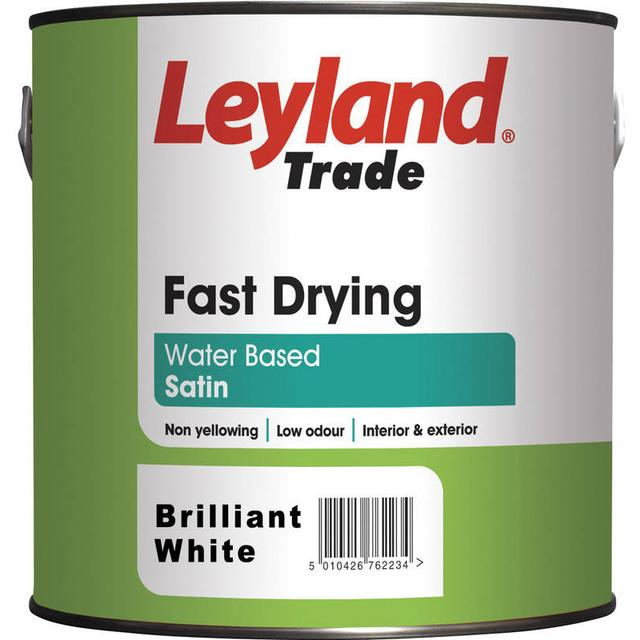Leyland Trade Fast Drying Satin Wood Paint, Metal Paint White 2.5L