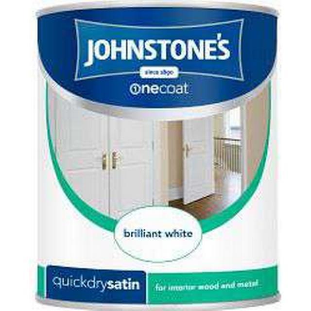 Johnstones One Coat Quick Dry Satin Wood Paint, Metal Paint Silver 0.75L