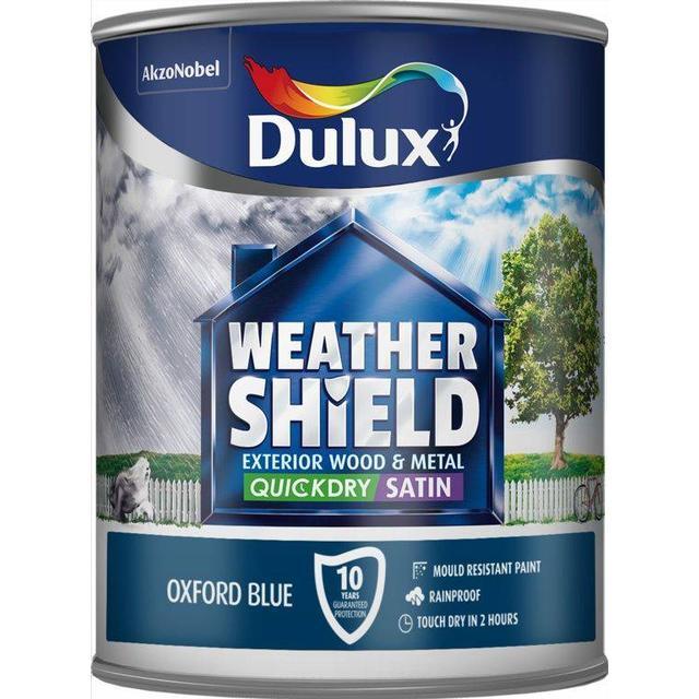 Dulux Weathershield Quick Dry Exterior Wood Paint, Metal Paint Blue 0.75L