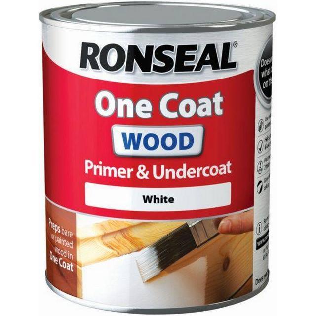 Ronseal One Coat Wood Primer & Undercoat Wood Paint White 0.75L