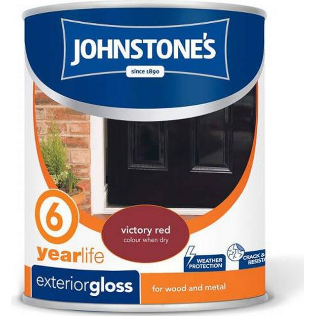 Johnstones Weatherguard 6 Year Exterior Gloss Wood Paint, Metal Paint Red 0.75L