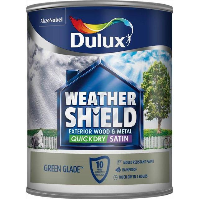 Dulux Weathershield Quick Dry Exterior Wood Paint, Metal Paint Green 0.75L