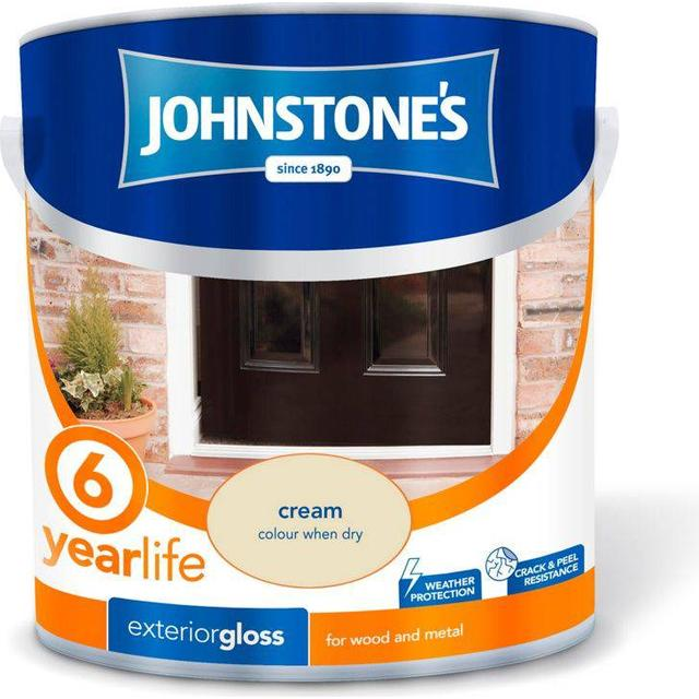Johnstones Weatherguard 6 Year Exterior Gloss Wood Paint, Metal Paint Off-white 2.5L