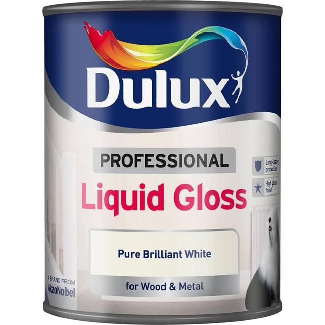 Dulux Professional Liquid Gloss Wood Paint, Metal Paint White 0.75L